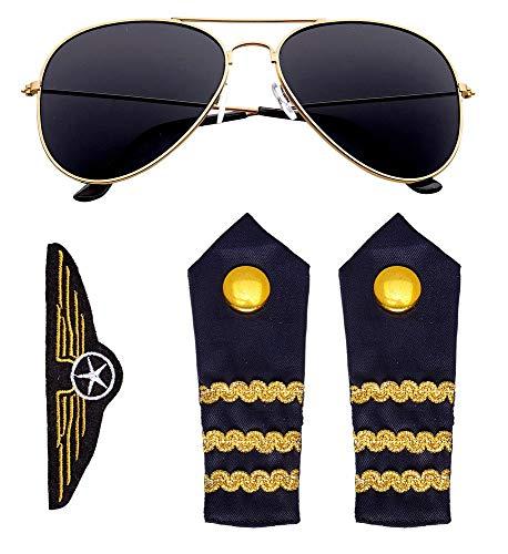 Kostüm Flugkapitän - shoperama Piloten-Set Brille Kette Schulterklappen Abzeichen Flug-Kapitän Kostüm-Zubehör Flugbegleiterin