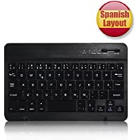 CoastaCloud Bluetooth Teclado, Teclado Inalambrico QWERTY Español 7 pulgada Para Cualquier iOS/Android/Windows Sistema Para Tablet Apple iPad,Samsung,Huawei,ASUS,Amazon Fire,Microsoft Surface Negro