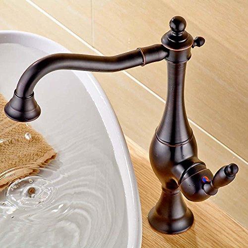 LINA-Rubinetto d'ottone bicromato di potassio-placcato oro/argento caldi e freddi singola maniglia lavatory , brown