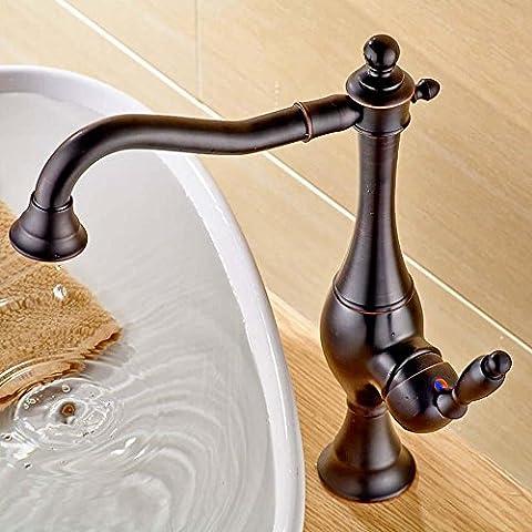 YanCui@ Rubinetto d'ottone bicromato di potassio-placcato oro/argento caldi e freddi singola maniglia lavatory , brown