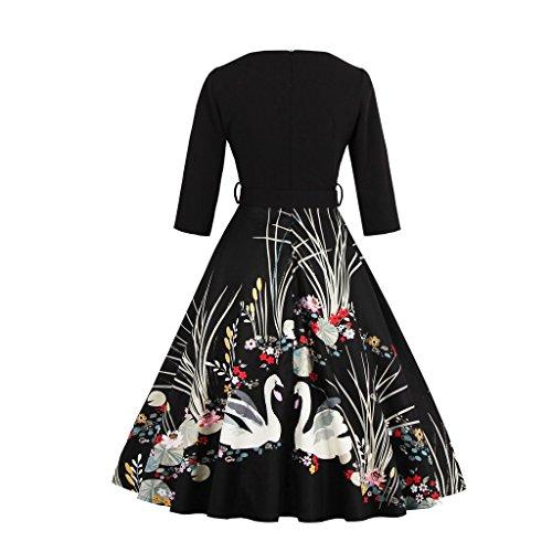 IMUYI Vintage floral Robes de mariée Demi manche Rockabilly des années 1950 Robe de soirée Noir