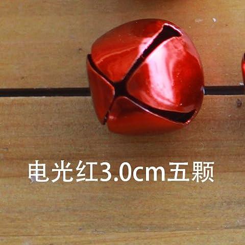 AiYingYing Eisenglocke, Weiß, Rot, 2,5Cm, 2cm, 1.5Cm, 1cm, 0.8Cm, 0,5Cm, 10 Packungen, elektrisches Licht Rot (3.0Cm)
