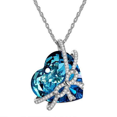 cupimatch Women Necklace Pendant Swarovski Crystal Elements Heart of the Ocean Blue change colour butterfly mosaic stone