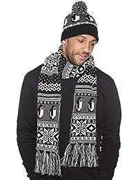 Hommes Manchot tricoté Modèle Calotte chapeau- Longue Écharpe Thermique D'hiver Mode Ensemble noir-gris
