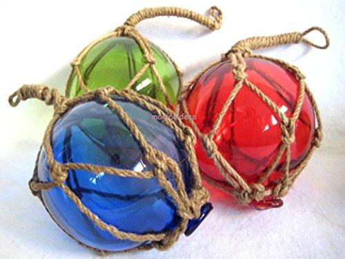 3x Fischerkugel im Netz- rot, grün, blau- Maritime Deko ...