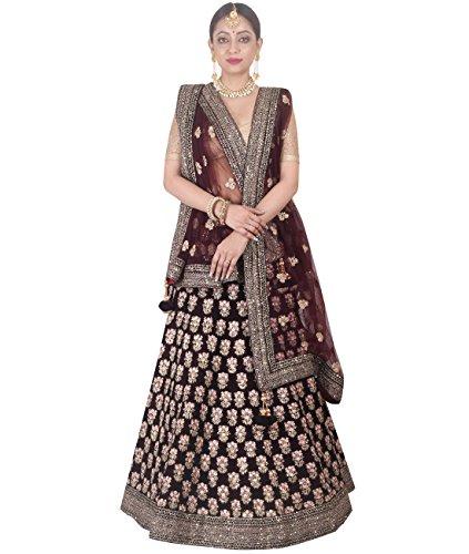 Indian Ethnicwear Bollywood Pakistani Wedding Wine A-Line Lehenga Semi-stitched-DIVISL045