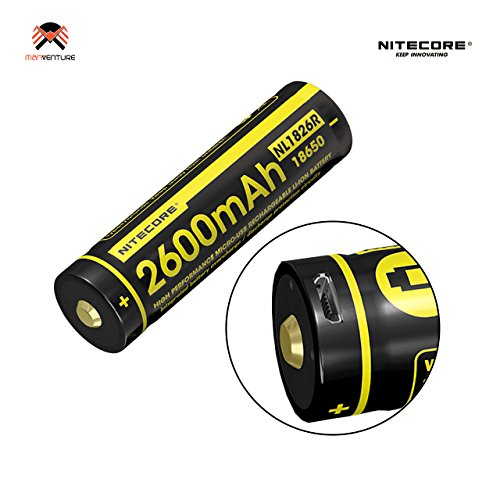 Nitecore® Nl1826r 2600mAh 3.6V Haute Capacité 18650Batterie rechargeable avec port de chargement micro-USB Intégré