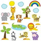 GET STICKING DECOR® Giungla Safari Decalcomanie/ Sticker Da Muro/ Adesivo Da Parete Collezione, CuteBabySafari SAFR.4, Lucido Removibile Vinile, Multi Color. (Large)