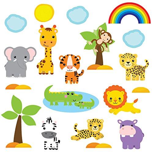 GET STICKING DÉCOR® Dschungel Safari Wandtattoo, Wandsticker Kollektion, CuteBabySafari SAFR.4, Glänzend Herausnehmbar Vinyl, Multi Farbe. (Large)