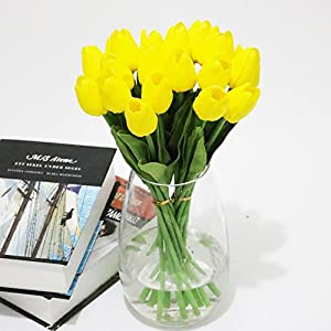 1 ramo de flores artificiales de tulipán, 10 ramas, decoración para el hogar, boda, fiesta, amarillo, 10 branches