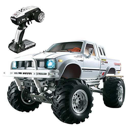 Bht HG 1/10 4WD RC LKW, 3-Gang RC Rock Crawler Geländewagen 4x4 Elektro RC RTR Hobby Geländewagen mit 2,4 GHz Radio (Weiß) (Rc 4x4 Elektro-lkw)