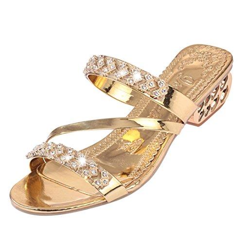 Beauty-luo sandali donna eleganti,infradito donna mare con strass,scarpe open toe moda donna, tacco basso bohemia (7, oro)