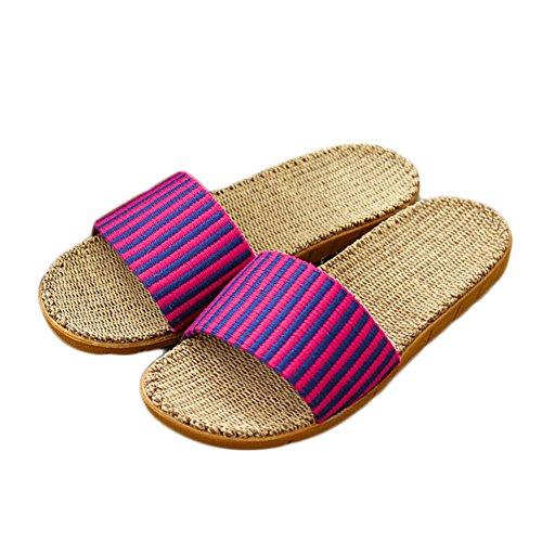 Zongsenc couple estiva striscia pantofole in maglia di lino sandali interni pantofole traspiranti rosso blu 37-38