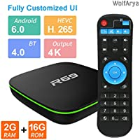 Android TV Box , Wolfarya R69 Smart TV Box with 2GB RAM 16GB ROM Quad Core, Support H.265/WIFI 2.4GHz/4K/3D/VP9 Media Player [2018 Version]