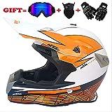 Erwachsene Motorrad-Motocross Motorbike Helme D.O.T Standard Children Quad Bike ATV Go Karting Helm (Handschuhe, Brille, Maske, 4 Set) (S, M, L, XL, XXL),M