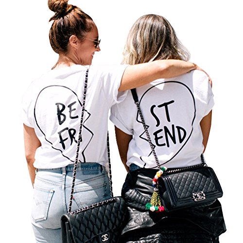 *Beste Freunde T Shirts Damen mit Aufdruck Best Friends Sommer Kurzarm Tops (S, Weiß BE)*