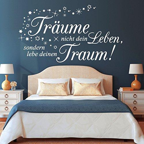"""Wandtattoo Loft """"Träume nicht dein Leben, sondern lebe deinen Traum!"""" mit Sternen / Zitat / Spruch / Weisheit / Wandsticker / Schlafzimmer / Wandtattoo / Wandaufkleber / 54 Farben / 3 Größen / weiß / 55 cm hoch x 99 cm breit"""