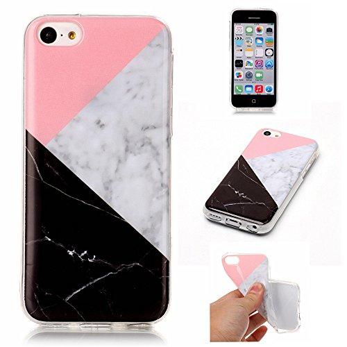 iPhone 5C Hülle,LANDEE Marmor Serie Flexible TPU Silikon Schutz Handy Hülle Handytasche HandyHülle Etui Schale Case Cover Tasche Schutzhülle für Apple iphone 5C(5C-DLS-003) 5C-DLS-001