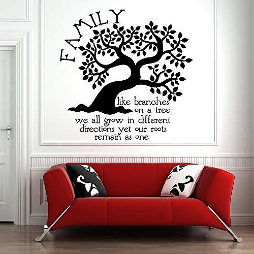 yiyiyaya Stammbaum Wandtattoo Familienzitat Vinyl Aufkleber Wohnkultur Wohnzimmer Wasserdicht Selbstklebend Natur Wandkunst Wandbild grau 58x57 cm -