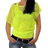 Crazy Age Frauen Partytop Sommertop Fasching Fest Netzoberteil aktueller Trend in Neonfarben- Einheitsgröße, Neongelb