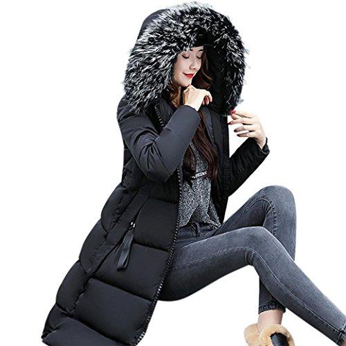 Damen Daunenjacke Winterjacke,Wintermantel Lange Frauen DaunenmantelWinter Warm Dicker Mantel Parka Jacke Outwear Oberbekleidung Trenchcoat mit Pelzkragen Elecenty (Schwarz, L)