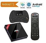 SINUK Android 7.1 TV Box con Mini Tastiera Wireless, 2017 Modello 4K Android TV Box 2GB RAM 16GB ROM e Bluetooth 4.0 con AmlogicS912 immagine