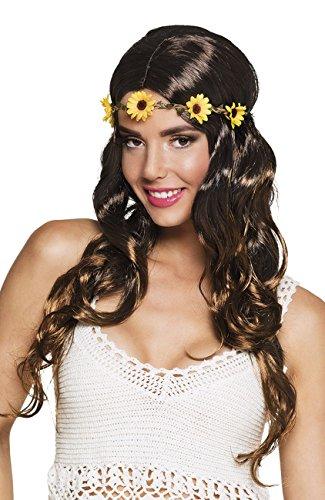 Boland parrucca hippie joy donna lunga mossa con fascia, moro/castano adulti, taglia unica 85826