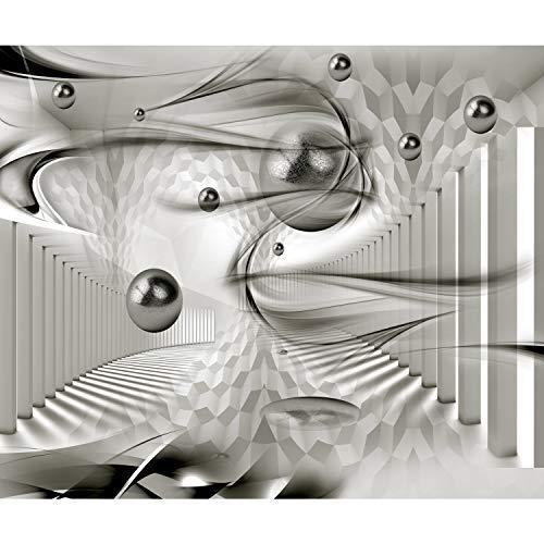 decomonkey Fototapete Abstrakt 350x256 cm XL Design Tapete Fototapeten Vlies Tapeten Wandtapete Vliestapete moderne Wandbild Wand Schlafzimmer Wohnzimmer 3d Effekt Architektur Kugeln weiß grau