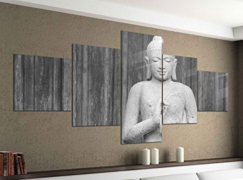 Leinwandbild 5 tlg. 200cmx100cm Buddha Figur Gott Asien Thailand schwarz weiß Bilder Druck auf Leinwand Bild Kunstdruck mehrteilig Holz 9YA1728, 5Tlg 200x100cm:5Tlg 200x100cm
