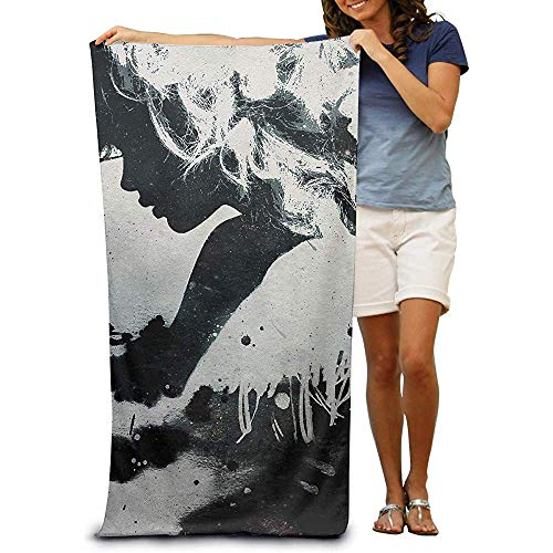 utong 100% Baumwolle Strandtücher 80x130cm Quick Dry Handtuch für Schwimmer Black Art Beach Blanket