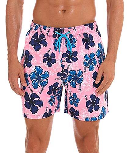 KISSMODA Herren Badehose Klassische Netzfutter Surf Beach Wear Shorts Bademode Badeanzüge Floral Pink (Floral Trunk)