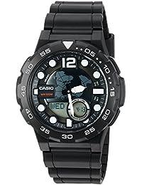 Casio De los hombres de 3d esfera de cuarzo resina Reloj Automático, color: negro (modelo: aeq100W-1av)