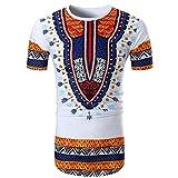 T-Shirt Africain, Malloom Chemise à Manches Courtes à Manches Courtes pour Hommes (2XL, Blanc(C))