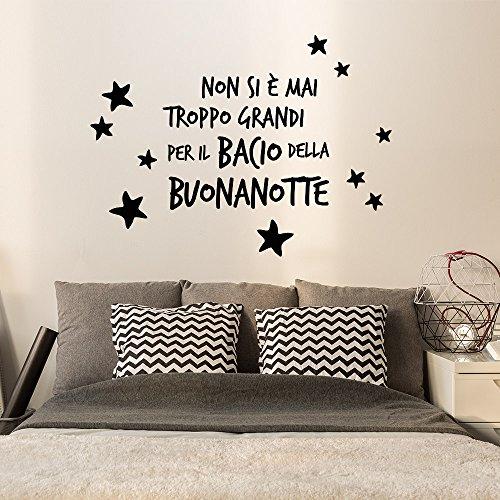 wall art 01432 Adesivo murale Aforisma Bacio della buonanotte - Misure 60x49 cm - Nero - Decorazione Parete, Adesivi per Muro, Carta da Parati