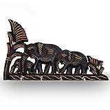 Handgefertigte Wand aus Holz Berg Schlüsselhalter Design mit 3 Elefanten Inlay Eingang Wandhängenden Holz Storage Key Hooks Eingangstür Aufhänger Veranstalter Halter 4 Haken organisiert 10 Zoll