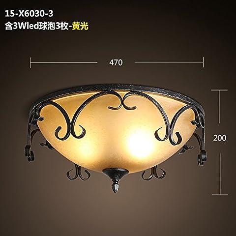 Zqww Ceiling lamp Lampade in ferro camera da letto corridoio studio ristorante Occidentale di luce da soffitto retrò americana calda ed elegante soffitto di vetro luce ,15-X6030-3