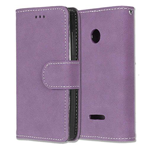 Microsoft Lumia 435 Hülle, Chreey Matt Leder Tasche Retro Handyhülle Magnet Flip Case mit Kartenfach Geldbörse Schutzhülle Etui [Lila]