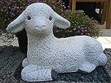 Steinfigur Schaf, Gartenfigur Steinguss Tierfigur Weiß Patina