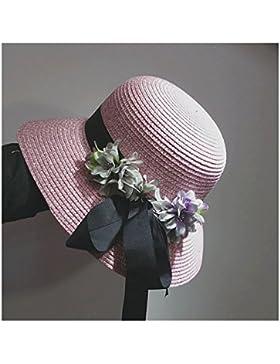 LVLIDAN Sombrero para el sol del verano Lady Anti-sol pescador plegable sombrero de paja rosa