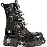 M.727-S1 Neue Rock Goth Stiefel mit Patent Flammen SchŠdel Ketten & Spikes
