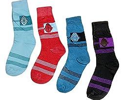 Indiweaves Kids Cotton Socks for 7-13 Years Kids (Pack of 4 Socks)-Green/Red/Blue/Black