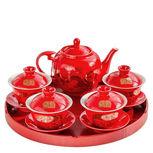 qwert Teapot Set, Chinesische Hochzeits-Tee-schüssel Cover Bowl Red Keramikplatten Kung Fu Tea Set Neues Zuhause 1 Teekanne 4 Teebale 1 Teeplatte-rot -