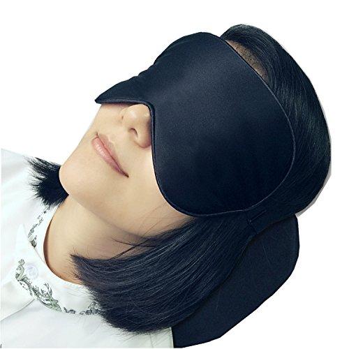 LinkHealth 100% Seta Naturale Eye Mask / Mascherina per gli occhi - migliorare il sonno, alleviare gonfio, gonfio occhi, affaticamento, cefalea e tensione - Nero