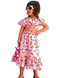 d2643ae72d55 Forever Kidz Summer Girls Funky Beach Pink Cotton Crop Top with Skirt Set  Age 2-