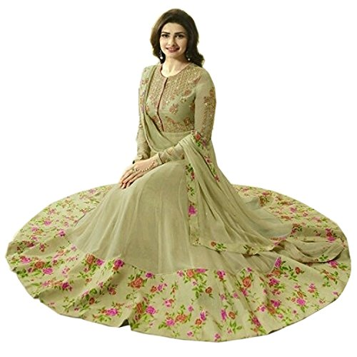 Women\'s Silk & Georgette Anarkali Dress Material (Q-47_Yello Green_Free Size)