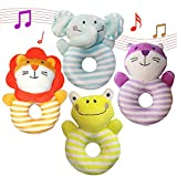 Aminord 4PCS Soft Rattle Baby Toys for 3, 6, 9, 10, 12 Month Newborn Infant Girl Boy - Elephant, Lion, Frog, Cat Rattle Toys