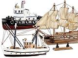 Playtastic Schiffbausatz: Schiff-Bausatz aus Holz, 3er-Set, Kutter, Flagg & Schlepper (Schiffsmodell Holz Bausatz)