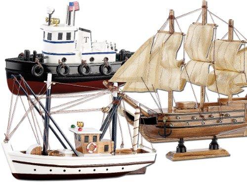 Playtastic Schiffsbausätze: 3er-Set Schiff-Bausätze Fischkutter, Flaggschiff & Schlepper, aus Holz (Modellschiff)