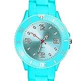 Taffstyle Farbige Sportuhr Armbanduhr Silikon Sport Watch Damen Herren Kinder Analog Quarz Uhr 34mm Himmelblau