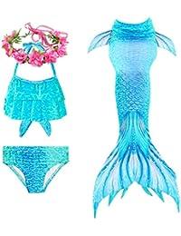 PaisDola Cola de Sirena niña para Nadar Incluido Traje de Sirena baño de Bikini de 3 Piezas y Diadema con guirnaldas de Flores